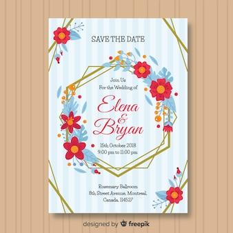 Invitación moderna de boda flores y líneas doradas