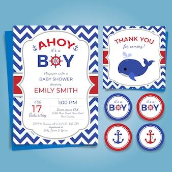 Invitación náutica de la fiesta de bienvenida al bebé del tema