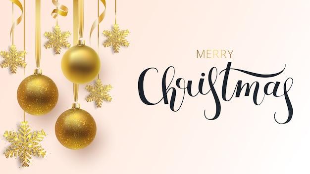 Invitación de navidad. bolas navideñas de oro metálico y copos de nieve