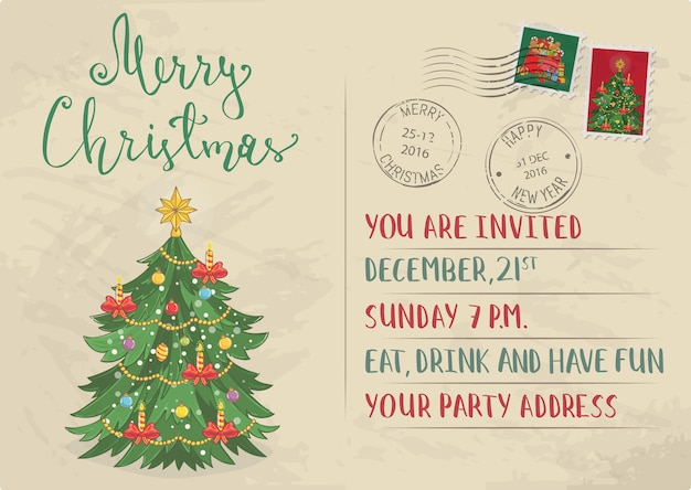 Invitación de navidad vintage con sellos postales