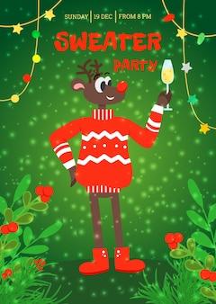 Invitación navideña con un ciervo a una fiesta de suéteres