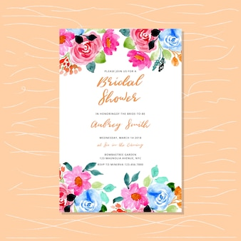 Invitación nupcial de la ducha con el marco floral de la acuarela