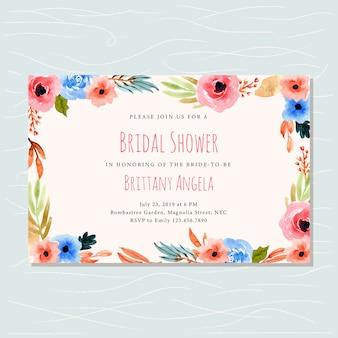 Invitación nupcial de la ducha con la acuarela del marco floral