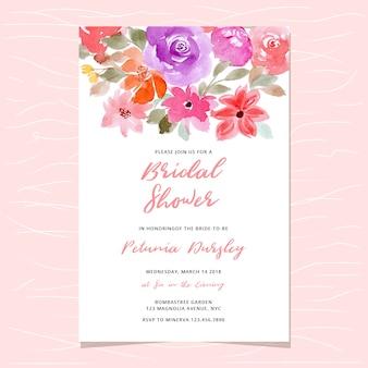 Invitación nupcial de la ducha con el jefe floral de la acuarela