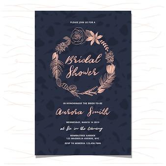 Invitación nupcial de la ducha con la mano de oro rosa dibujado corona floral