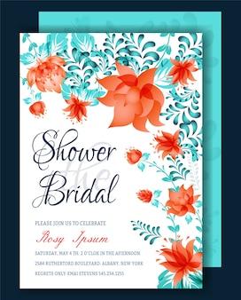 Invitación nupcial de la ducha del marco floral o tarjeta de weedding
