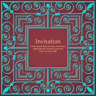 Invitación o invitación de boda con fondo floral y elegantes elementos florales.
