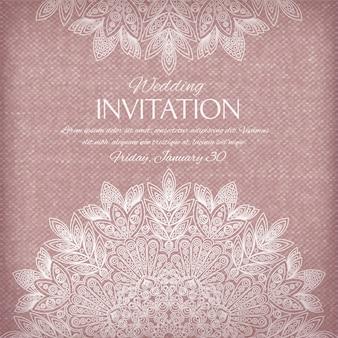 Invitación ornamental de plata y colores pastel.