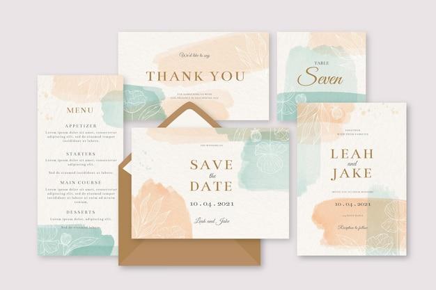 Invitación de papelería de boda de colores manchas