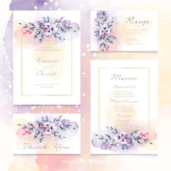 Invitación de papelería de boda floral romántica