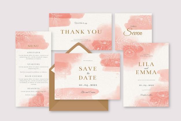 Invitación de papelería de boda rosa acuarela