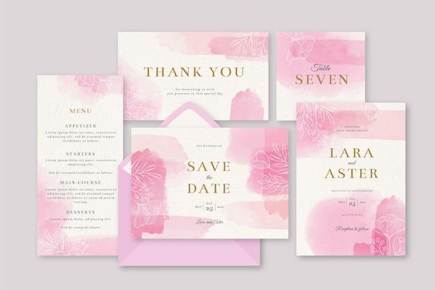 Invitación de papelería de boda rosa floreciente