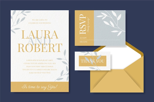 Invitación de papelería de boda y tarjetas con sobre