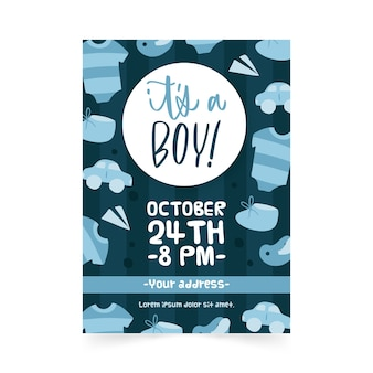 Invitación plantilla baby shower boy