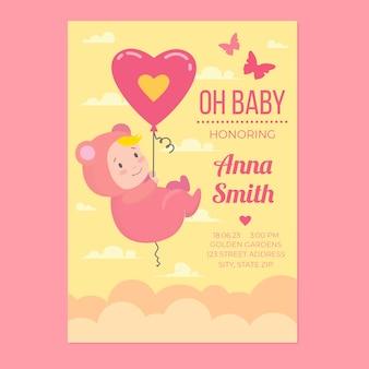 Invitación de plantilla de baby shower por concepto de niña