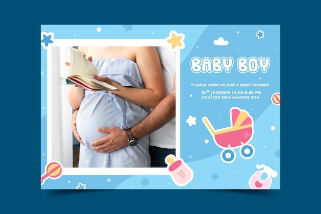 Invitación de plantilla de baby shower para concepto de niño