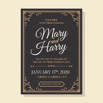 Invitación de plantilla de boda vintage
