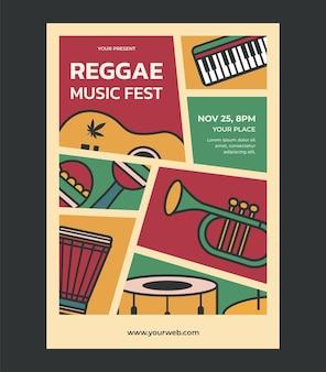 Invitación de plantilla de diseño de cartel de festival de música reggae para vector de festival de música