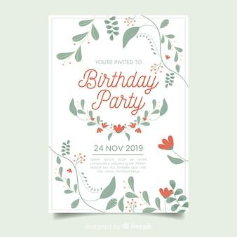 Invitación de plantilla floral de fiesta de cumpleaños