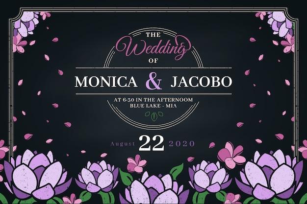 Invitación de plantilla retro de boda