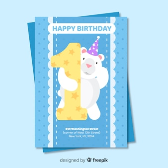 Invitación primer cumpleaños oso asomado