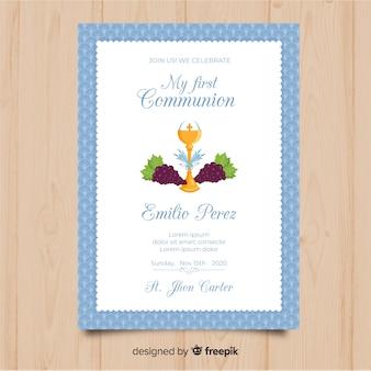 Invitación primera comunión cáliz plano con uvas