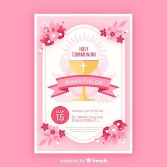 Invitación primera comunión flores planas