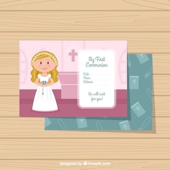 Invitación de primera comunión con una niña