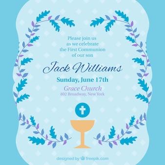 Invitación de primera comunión en tonos azules