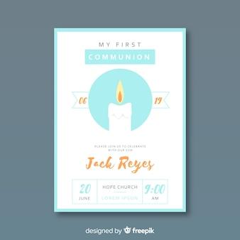 Invitación primera comunión vela dibujada a mano