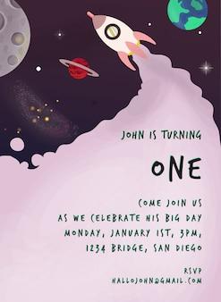 Invitación púrpura con tema espacial para cumpleaños