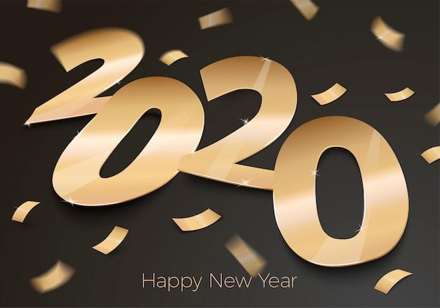 Invitación realista de fiesta de año nuevo con papel de oro número 2020 en superficie negra