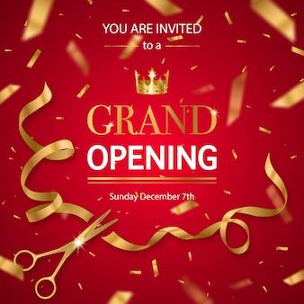 Invitación realista de gran inauguración