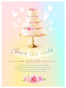 Invitación realista de la torta de la invitación de boda