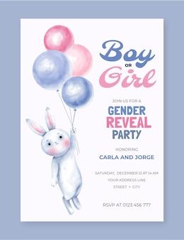 Invitación de revelación de género dibujada a mano