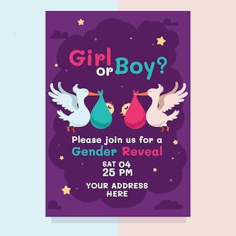 Invitación de revelación de género de dibujos animados