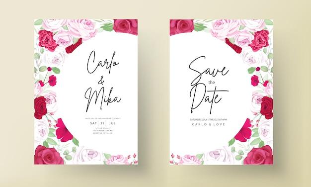 Invitación romántica de la boda del marco de la flor roja de la peonía y de la rosa