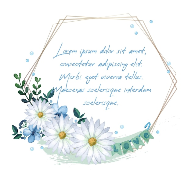 Invitación romántica marco acuarela margarita san valentín