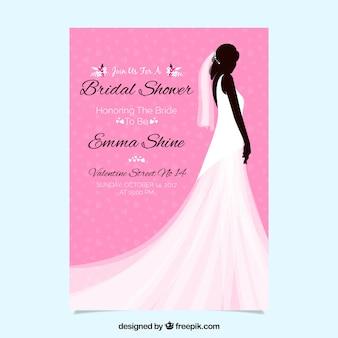 Invitación rosa de despedida de soltera con silueta femenina y vestido de boda