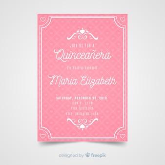 Invitación rosa a fiesta de quinceañera