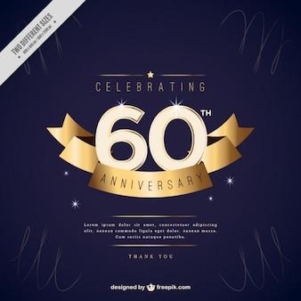 Invitación de sesenta aniversario con cinta dorada