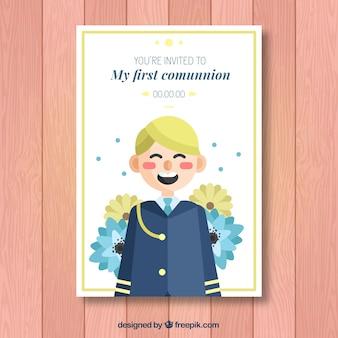 Invitación con simpática ilustración de primera comunión