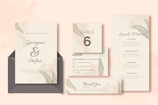 Invitación y sobres con plantilla de papelería de boda de hojas