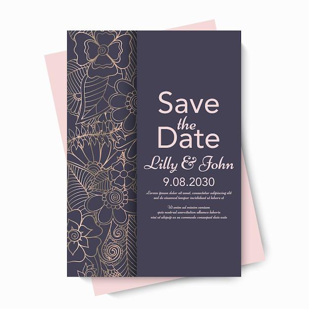 Invitación de tarjeta de boda floral.
