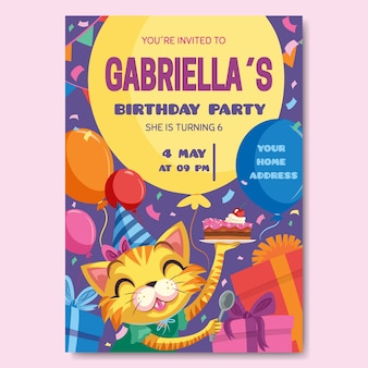 Invitación de tarjeta de cumpleaños para diseño de plantillas para niños
