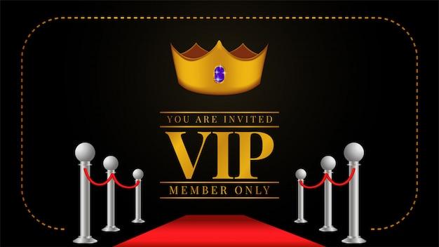 Invitación de tarjeta miembro vip con corona dorada.