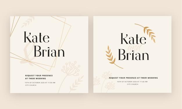 Invitación de la tarjeta de oro de la boda de lujo totalmente editable