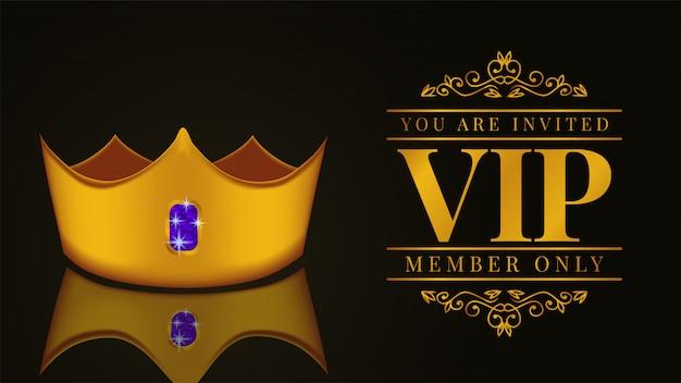 Invitación de tarjeta vip de lujo con corona dorada.