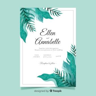 Invitación tropical de boda en acuarela