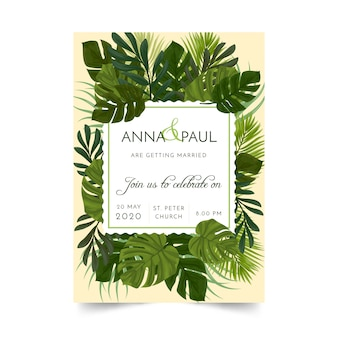 Invitación tropical de la boda